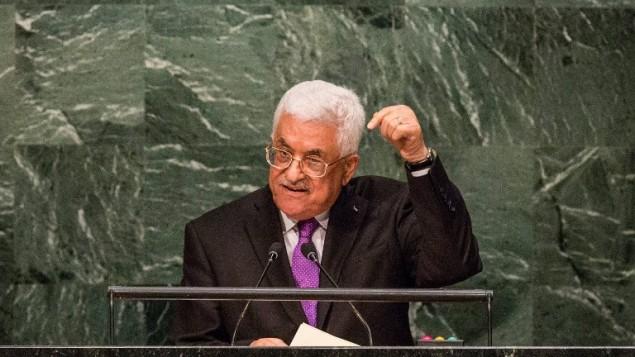 محمود عباس خلال خطابه أمام الجمعية العامة للأمم المتحدة في نيويورك، 30 سبتمبر، 2015. (AFP/Andrew Burton/Getty Images)