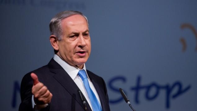 رئيس الوزراء بنيامين نتنياهو يتحدث خلال مؤتمر المجلس الصهيوني العالمي ال37 في القدس، 20 اكتوبر 2015 (Yonatan Sindel/Flash90)