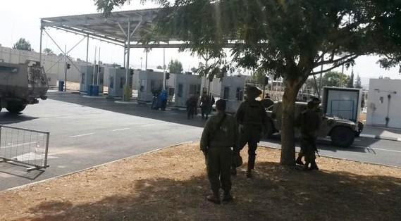 الحاجز في جنين حيث حاول فتى فلسطيني طعن حارس أمن إسرائيلي قبل إطلاق النار عليه في 24 أكتوبر، 2015. (وزارة الدفاع الإسرائيلية)