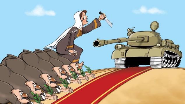 """رسم كاريكاتير تم نشره على شبكة """"القدس"""" الإخبارية في وقت سابق من هذا الشهر (عبر Facebook)"""