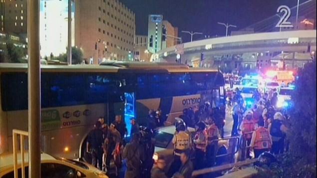 موقع الهجوم على متن الحافلة في القدس 12 اكتوبر 2015 (صورة شاشة)