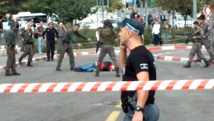 صورة شاشة من القناة الثانية لمكان الهجوم في القدس، 30 اكتوبر 2015
