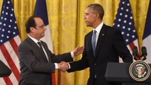 مؤتمر صحفي للرئيس الأمريكي باراك اوباما مع نظيره الفرنسي فرانسوا هولاند في البيت الأبيض، 24 نوفمبر 2015 (AFP/NICHOLAS KAMM)