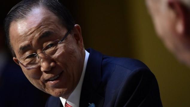 الامين العام للامم المتحدة بان كي مون في مدريد، 29 أكتوبر 2015 (JAVIER SORIANO / AFP)