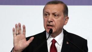 الرئيس التركي رجب طيب أردوغان في قمة العشرين في أنطاليا بتركيا، 16 نوفمبر، 2015. (Adem Altan/AFP)