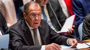 وزير الخارجية الروسي سيرغي لافروف اثناء جلسة لمجلس الامن في نيويورك، 30 سبتمبر 2015 (Andrew Burton/Getty Images/AFP)