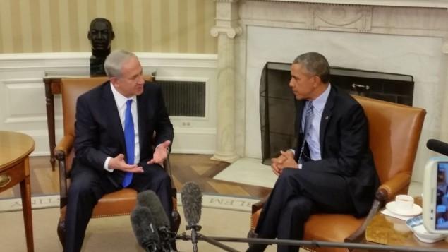 رئيس الوزراء بينيامين نتنياو يلتقي بالرئيس الأمريكي باراك أوباما في البيت الأبيض، 11 نوفمبر، 2015. (Raphael Ahren/Times of Israel)