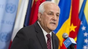 المبعوث الفلسطيني للأمم المتحدة رياض منصور، 6 ابريل 2015 (UN /Loey Felipe)