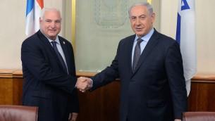 رئيس الوزراء بنيامين نتنياهو يلتقي برئيس بناما ريكاردو مارتينيلي في القدس، 29 مايو 2014 (Kobi Gideon/GPO/Flash90)