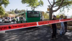 """المنطقة التي وقع فيها الهجوم الدامي في """"أرمون هنتسيف"""" كانت شبه خالية الأربعاء (Yonatan Sindel/Flash 90)"""