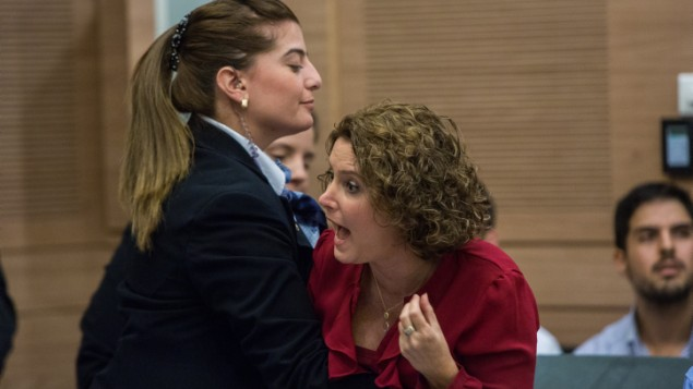 إخراج عضو الكنيست ميخال روزين (ميرتس)  من جلسة ناقشت منظمة 'لهافا' الإسرائيلية المناهضة للإنصهار في لجنة الشؤون الداخلية في الكنيست، 10 نوفبمر، 2015. (Yonatan Sindel/FLASH90)