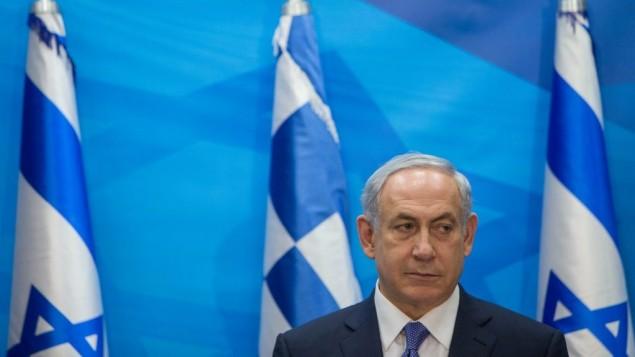 رئيس الوزراء بنيامين نتنياهو خلال مؤتمر صحفي مع نظيره اليوناني الكسيس تسيبراس في القدس، 25 نوفمبر 2015 (Yonatan Sindel/Flash90)