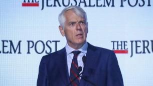 لارس فابورغ-أندرسن، سقير الإتحاد الأوروبي في إسرائيل، في المؤتمر الدبلوماسي الذي تنظمه صحيفة 'جيروزاليم بوست'، 18 نوفمبر، 2015. (Flash90)