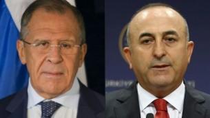 صورة مزدوجة لوزير الخارجية الروسي سيرغي لافروف ووزير الخارجية التركي مولود جاوش اوغلو (ADEM ALTAN, DOMINICK REUTER / AFP)