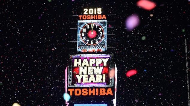 شاشة العد التنازلي في ساحة تايمز سكوير في نيويورك في عيد رأس السنة الماضي، 1 يناير 2015 (JEWEL SAMAD / AFP)