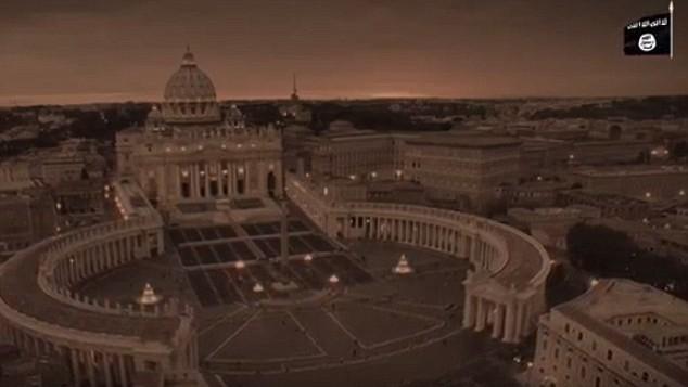 """كاتدرائية القديس بطرس في روما تظهر في شريط فيديو جديد يصور نهاية العالم من إنتاج تنظيم """"الدولة الإسلامية"""".  (لقطة شاشة)"""