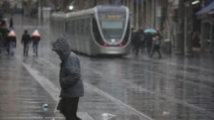 هطول الامطار في القدس (Hadas Parush/Flash90)