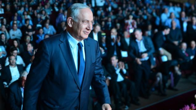 رئيس الوزراء بنيامين نتنياهو خلال مؤتمر الجليل الثامن في عكا، 1 ديسمبر 2015 (Kobi Gideon / GPO)