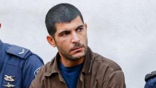 رائد مسالمة (36 عاما) ف المحكمة المركزية في تل أبيب، 2 ديسمبر، 2015. (Photo by Flash90)