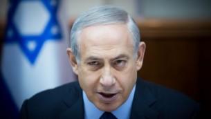 رئيس الوزراء بنيامين نتنياهو خلال الجلسة الاسبوعية للحكومة في مكتب رئيس الوزراء في القدس، 13 ديسمبر 2015 (Yonatan Sindel/Flash90)
