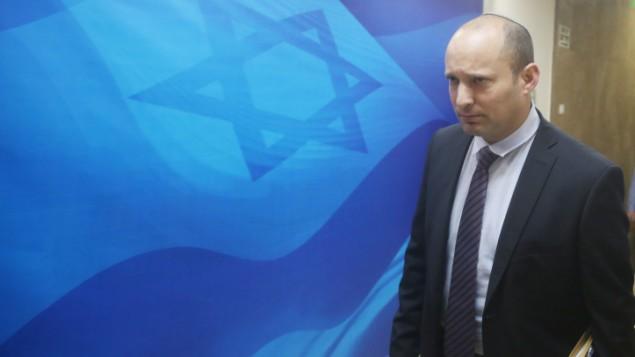 وزير المعارف نفتالي بينيت في جلسة الحكومة الاسبوعية في القدس، 27 ديسمبر 2015 (Marc Israel Sellem/POOL)