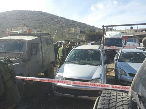 مكان وقوع هجوم دهس بالقرب من بلدة حوارة في الضفة الغربية، 31 ديسمبر 2015 (Twitter)