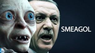 شخصية غولوم في فيلم Lord of the Rings والرئيس التركي رجب طيب أردوغان. (لقطة شاشة: YouTube)