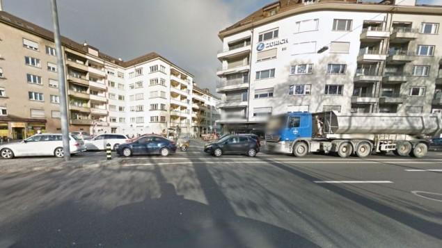 المنطقة المحيطة في مدرسة يهودية في زيوريخ التي قامت الشرطة باغلاقها بسبب تهديد امني في 17 ديسمبر 2015 (Screen capture: Google Street View)