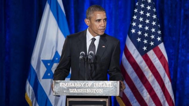 الرئيس الأمريكي باراك اوباما خلال كلمة بمناسبة اليوم العالم لذكرى ضحايا المحرقة اليهودية في السفارة الإسرائيلية في الولايات المتحدة، 27 يناير 2016 (BRENDAN SMIALOWSKI / AFP)