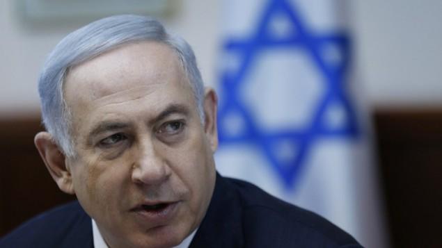 رئيس الوزراء بينيامين نتنياهو يترأس الجلسلة الأسبوعية للمجلس الوزراي في القدس، 31 يناير، 2016. (AFP / POOL / AMIR COHEN)
