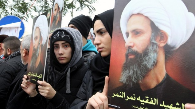مظاهرة في بيروت احتجاجا على اعدام السعودية لرجل الدين الشيعي نمر النمر، 3 يناير 2016 (ANWAR AMRO / AFP)