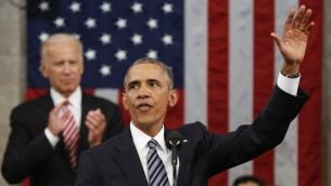 الرئيس الأمريكي باراك اوباما يقدم خطاب امام الكونغرس الامريكي بمجلسيه في واسنطن، 12 يناير 2016 (EVAN VUCCI / POOL / AFP)