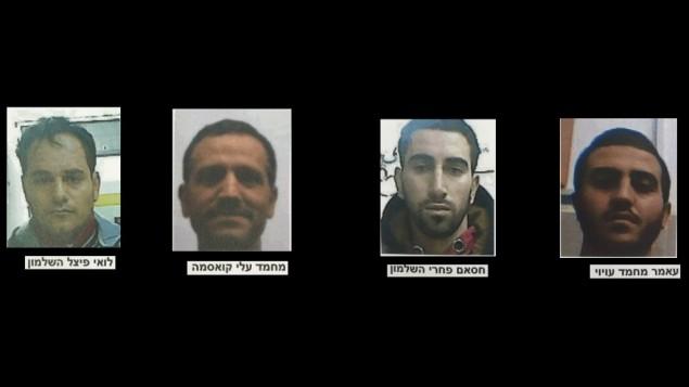 4 أعضاء من خلية تابعة لحماس اعتقلهم الشاباك في نوفمبر بشبهة التخطيط لهجوم إطلاق نار بالقرب من مدينة الخليل بالضفة الغربية. (الشاباك)