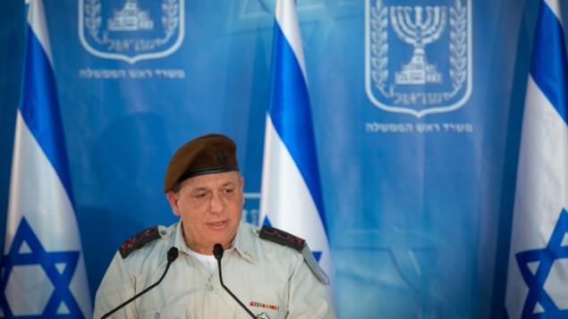 رئيس هيئة الأركان العامة للجيش الإسرائيلي غادي آيزنكوت (Miriam Alster/Flash90, File)