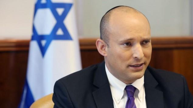وزير المعارف نفتالي بينيت في جلسة الحكومة الاسبوعية في القدس، 31 اغسطس 2015 (Marc Israel Sellem/POOL)
