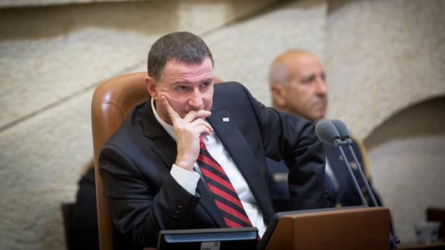 رئيس الكنيست الإسرائيلي يولي ادلشتاين، 30 ديسمبر 2015 (Miriam Alster/FLASH90)