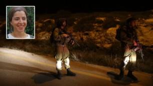القوات الإسرائيلية في موقع هجوم الطعن الذي وقع بالقرب من مستوطنة عتنئيل، 17 يناير، 2016. (Yonatan Sindel/FLASH90 and The Times of Israel)