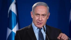 رئيس الوزراء الإسرائيلي في فندق كينغ ديفيد بالقدس، 27 يناير، 2016. (Yonatan Sindel/Flash90)