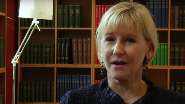 وزيرة الخارجية السويدية مارغوت فالستروم. (Youtube screenshot)