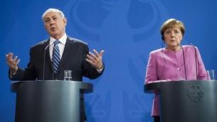 المستشارة الالمانية انغيلا مريكل ورئيس الوزراء بنيامين نتيناهو خلال مؤتمر صحفي مشترك في برلين، 16 فبراير 2016 (AFP / ODD ANDERSEN)