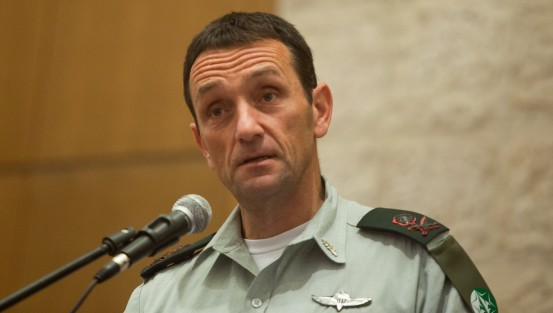 قائد المخابرات العسكرية هرتسل هاليفي في القدس، 2 نوفمبر 2015 (Flash90)