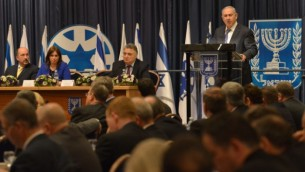رئيس الوزراء بينيامين نتنياهو خلال كلمة له في وزارة الخارجية بمدينة القدس، 31 يناير، 2016. (Kobi Gideon / GPO)