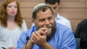 رئيس منظمة 'لهافا'، بنتسي غوبشتين، خلال جلسة للجنة الشؤون الداخلية في الكنيست، 10 نوفمبر، 2015. (Yonatan Sindel/FLASH90)