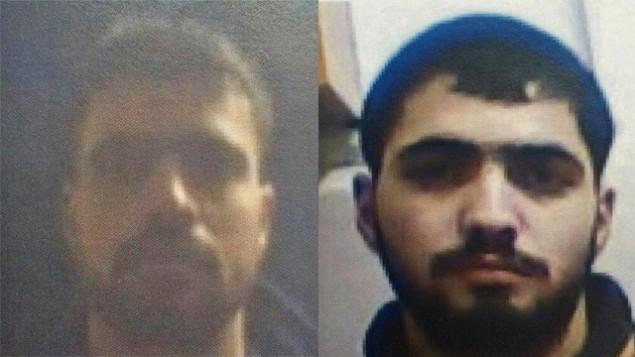 ناصر (يمين) واكرم بدوي، المشتبهين يتنفيذ عدة هجمات اطلاق نار ضد اسرائيليين (Shin Bet)