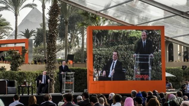 رئيس شركة اورانج اورمد سيفان ريشار في مؤتمر صحافي القاهرة، 8 مارس 2016 (KHALED DESOUKI / AFP)