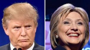 صورة مركبة تظهر المرشح الجمهوري دونالد ترامب في 14 يناير 2016، ومنافسته الديمقراطية هيلاري كلينتون في 4 فبراير 2016 (AFP / DSK)