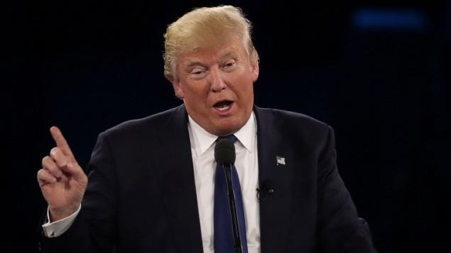 المرشح الجمهوري للرئاسة الامريكية دونالد ترامب يلقي خطاب في مؤتمر إيباك السنوي في واشنطن، 21 مارس 2016. (Alex Wong/Getty Images/AFP)