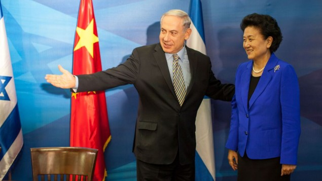 رئيس الوزراء بنيامين نتنياهو خلال لقائه نائبة رئيس الوزراء الصيني ليو يان جونغ في القدس، 19 مايو 2014 (Emil Salman/Flash90/Pool)
