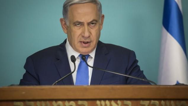 رئيس الوزراء بينيامين نتنياهو يدلي بتصريح في مؤتمر صحفي ردا على سلسلة الهجمات التي هزت بروكسل وإسطنبول، من مكتبه في القدس، 23 مارس، 2016. (Hadas Parush/Flash90)