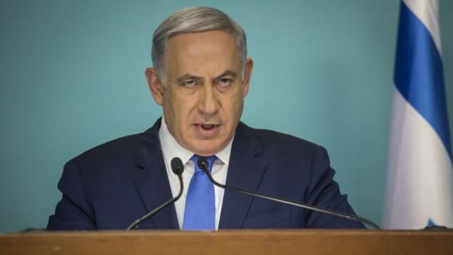 رئيس الوزراء بينيامين نتنياهو يدلي بتصريح للصحافة في مكتبه في القدس، 23 مارس، 2016. (Hadas Parush/Flash90)